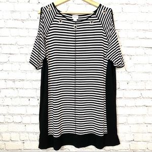 Weekends by Chico's Black and White Striped Dress